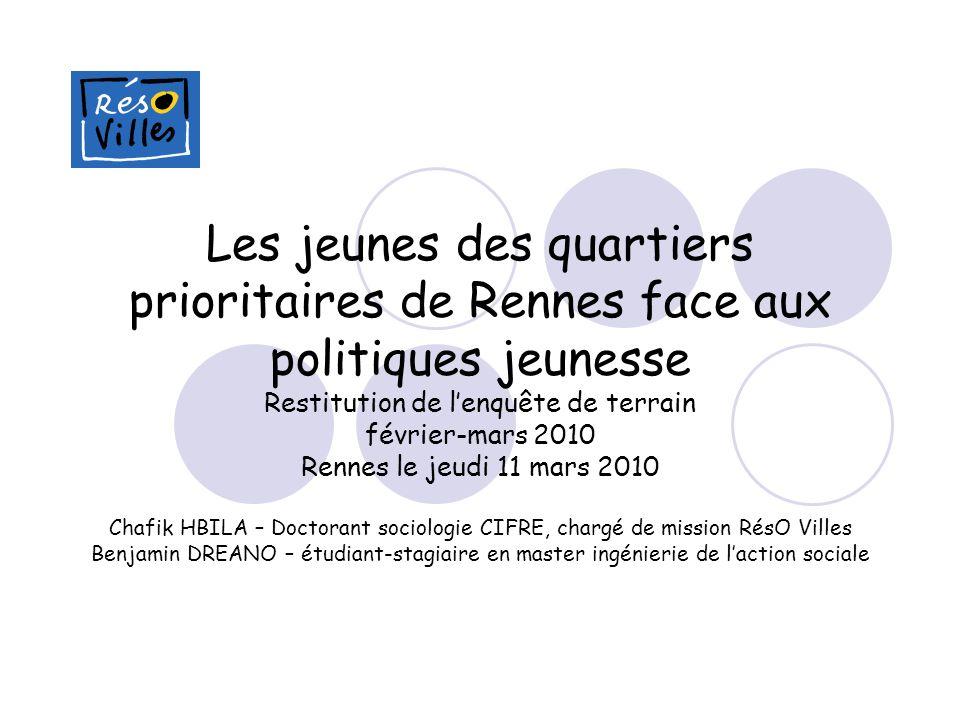 Les jeunes des quartiers prioritaires de Rennes face aux politiques jeunesse Restitution de lenquête de terrain février-mars 2010 Rennes le jeudi 11 m
