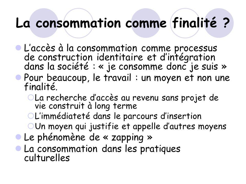 La consommation comme finalité ? Laccès à la consommation comme processus de construction identitaire et dintégration dans la société : « je consomme