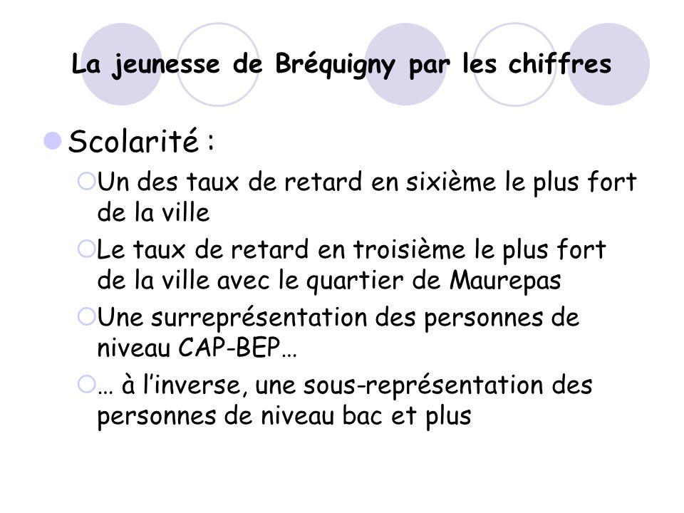 La jeunesse de Bréquigny par les chiffres Scolarité : Un des taux de retard en sixième le plus fort de la ville Le taux de retard en troisième le plus fort de la ville avec le quartier de Maurepas Une surreprésentation des personnes de niveau CAP-BEP… … à linverse, une sous-représentation des personnes de niveau bac et plus