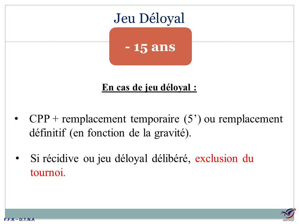 F.F.R – D.T.N.A Jeu Déloyal - 15 ans CPP + remplacement temporaire (5) ou remplacement définitif (en fonction de la gravité). Si récidive ou jeu déloy