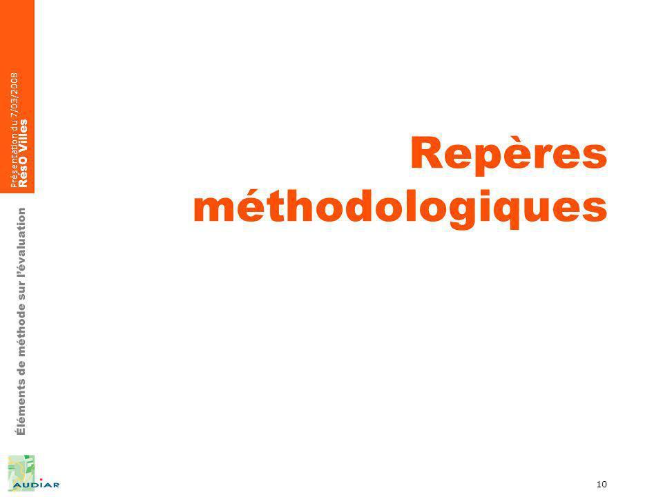 Éléments de méthode sur lévaluation Présentation du 7/03/2008 RésO Villes 10 Repères méthodologiques
