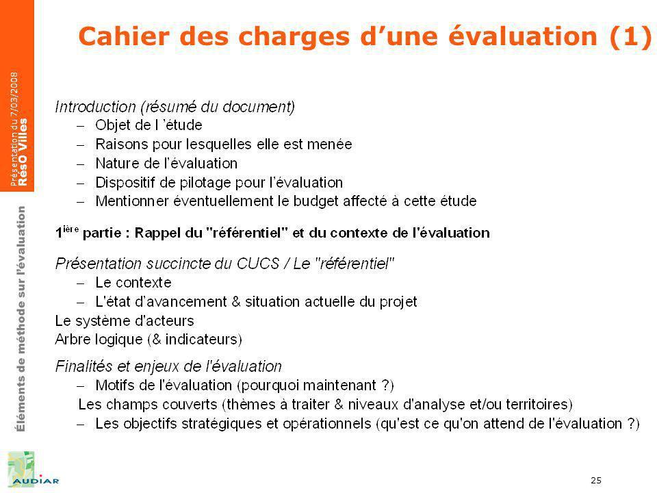Éléments de méthode sur lévaluation Présentation du 7/03/2008 RésO Villes 25 Cahier des charges dune évaluation (1)
