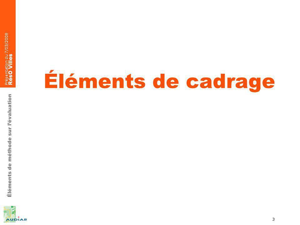Éléments de méthode sur lévaluation Présentation du 7/03/2008 RésO Villes 4 Le développement irréversible de lévaluation Grandes organisations daide au développement Introduite en France dans les années 90 > M Rocard (rapport Viveret en 1989) Union européenne > évaluation de programmes financés sur fonds structurels de lÉtat (règlement de 1993) La LOLF > 1ier août 2000 Politique de la ville > Circulaires du 31 août 1998 pour les contrats 94/99 et des 24 mais & 15 septembre 2006 pour les contras 2007/2012 Secrétariat dÉtat > en charge de la prospective et de lévaluation des politiques publiques (E Besson)