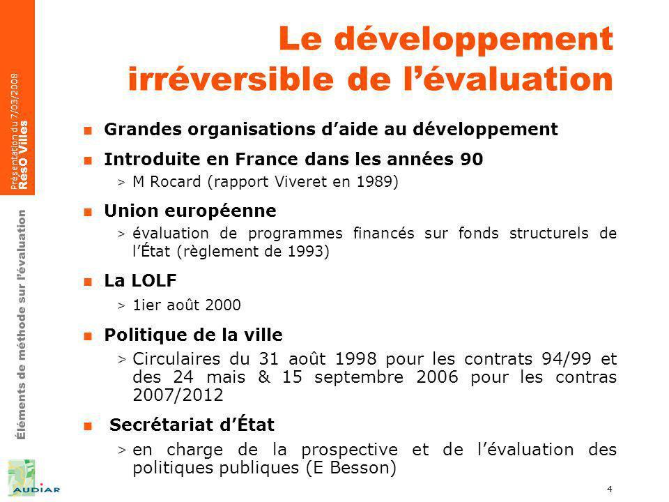 Éléments de méthode sur lévaluation Présentation du 7/03/2008 RésO Villes 4 Le développement irréversible de lévaluation Grandes organisations daide a