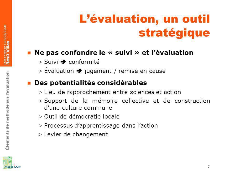 Éléments de méthode sur lévaluation Présentation du 7/03/2008 RésO Villes 7 Lévaluation, un outil stratégique Ne pas confondre le « suivi » et lévalua