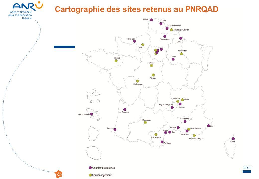 Réseau CPRU - Journée Locale déchanges – Le Mans – 13 mai 2011 Cartographie des sites retenus au PNRQAD