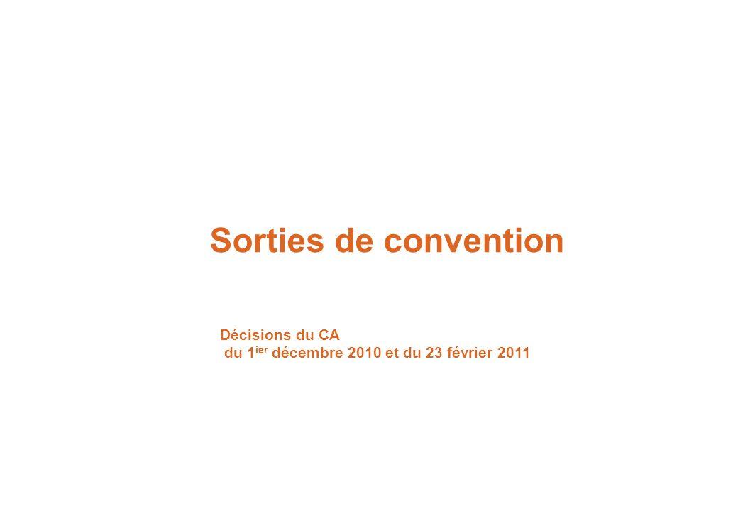 Sorties de convention Décisions du CA du 1 ier décembre 2010 et du 23 février 2011