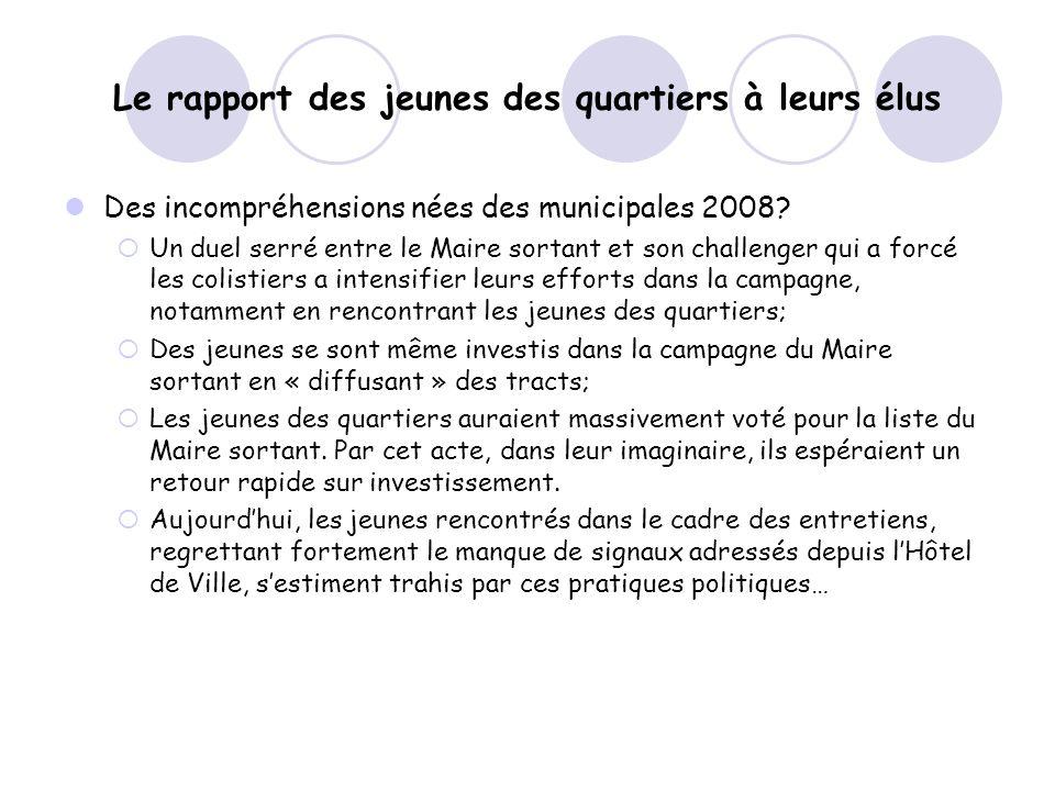 Le rapport des jeunes des quartiers à leurs élus Des incompréhensions nées des municipales 2008.