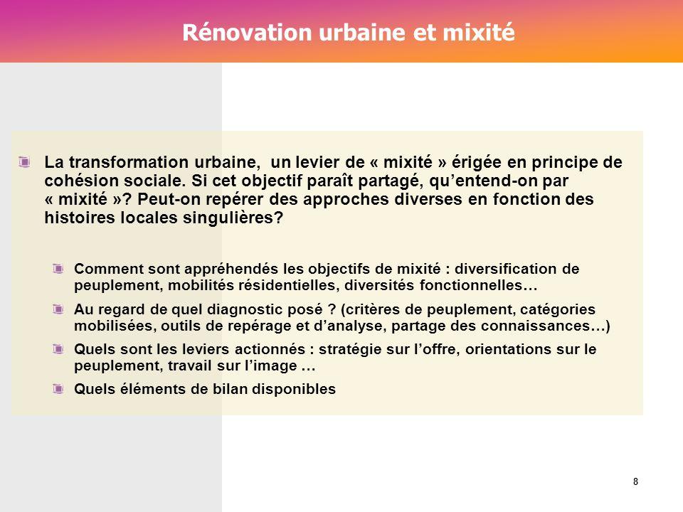 Cérur, groupe Reflex_ Rénovation urbaine et mixité La transformation urbaine, un levier de « mixité » érigée en principe de cohésion sociale. Si cet o