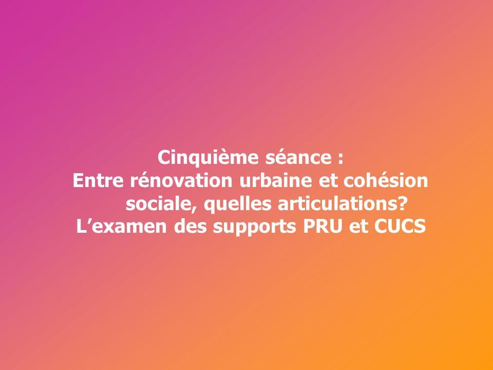 Cérur, groupe Reflex_ Cinquième séance : Entre rénovation urbaine et cohésion sociale, quelles articulations? Lexamen des supports PRU et CUCS
