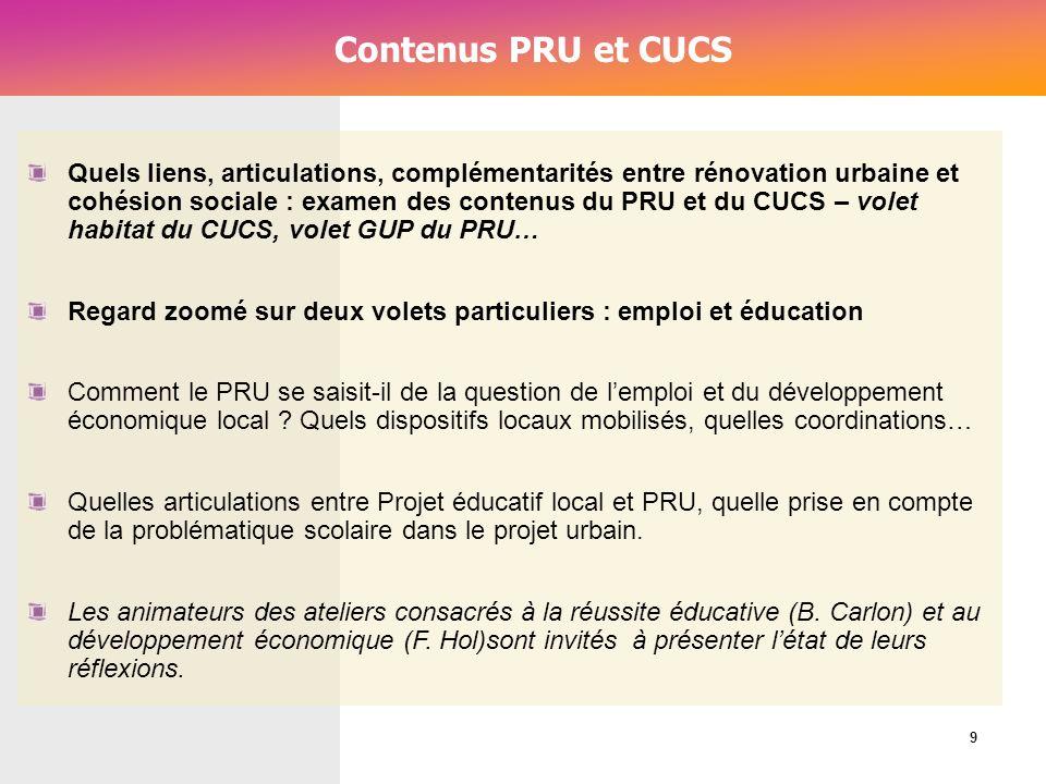 Cérur, groupe Reflex_ Contenus PRU et CUCS Quels liens, articulations, complémentarités entre rénovation urbaine et cohésion sociale : examen des cont