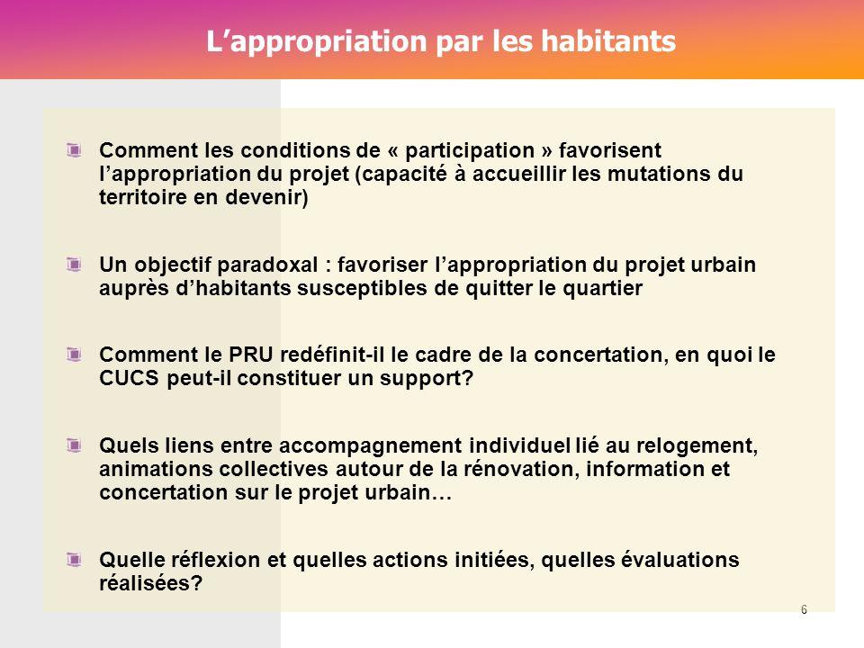 Cérur, groupe Reflex_ Lappropriation par les habitants 6 Comment les conditions de « participation » favorisent lappropriation du projet (capacité à a