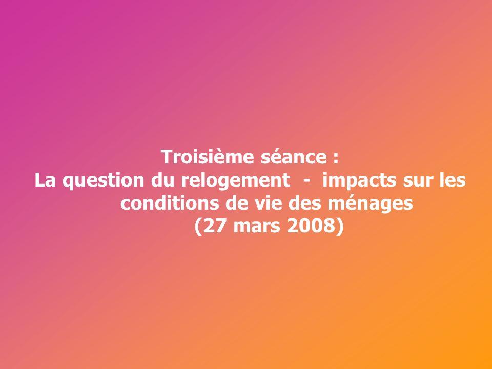 Cérur, groupe Reflex_ Troisième séance : La question du relogement - impacts sur les conditions de vie des ménages (27 mars 2008)