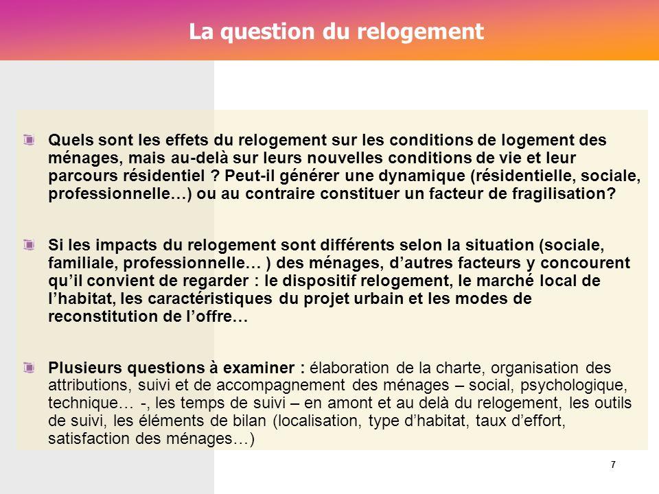 Cérur, groupe Reflex_ La question du relogement Quels sont les effets du relogement sur les conditions de logement des ménages, mais au-delà sur leurs