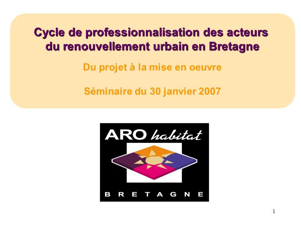 1 Cycle de professionnalisation des acteurs du renouvellement urbain en Bretagne Du projet à la mise en oeuvre Séminaire du 30 janvier 2007