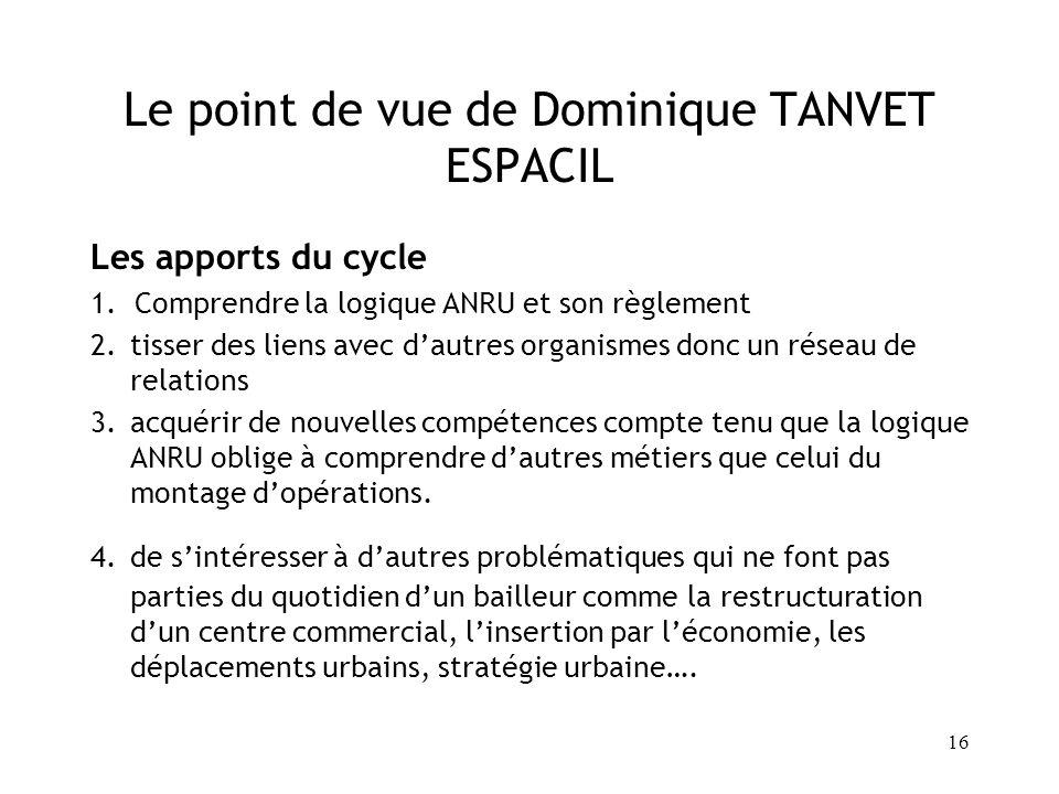 16 Le point de vue de Dominique TANVET ESPACIL Les apports du cycle 1. Comprendre la logique ANRU et son règlement 2.tisser des liens avec dautres org