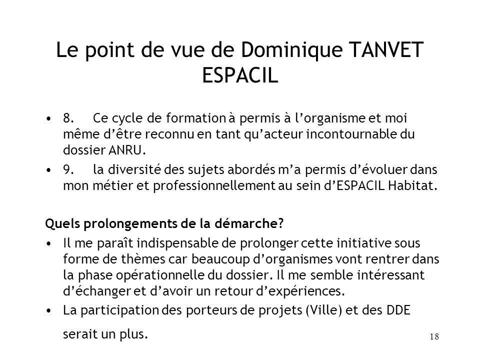 18 Le point de vue de Dominique TANVET ESPACIL 8.Ce cycle de formation à permis à lorganisme et moi même dêtre reconnu en tant quacteur incontournable
