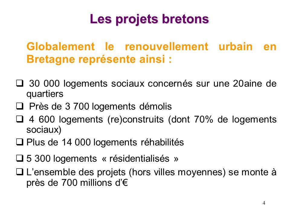 4 Les projets bretons Globalement le renouvellement urbain en Bretagne représente ainsi : 30 000 logements sociaux concernés sur une 20aine de quartie