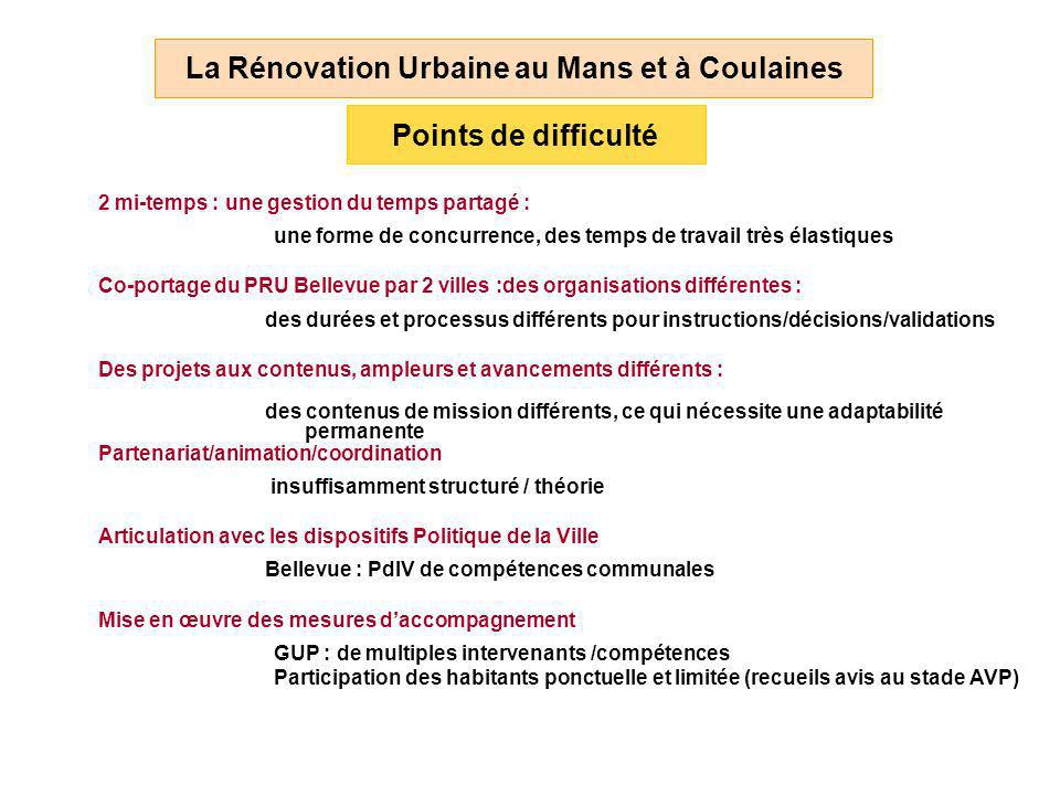 2 mi-temps : une gestion du temps partagé : La Rénovation Urbaine au Mans et à Coulaines Points de difficulté Co-portage du PRU Bellevue par 2 villes