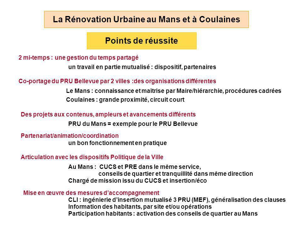 2 mi-temps : une gestion du temps partagé La Rénovation Urbaine au Mans et à Coulaines Points de réussite un travail en partie mutualisé : dispositif,