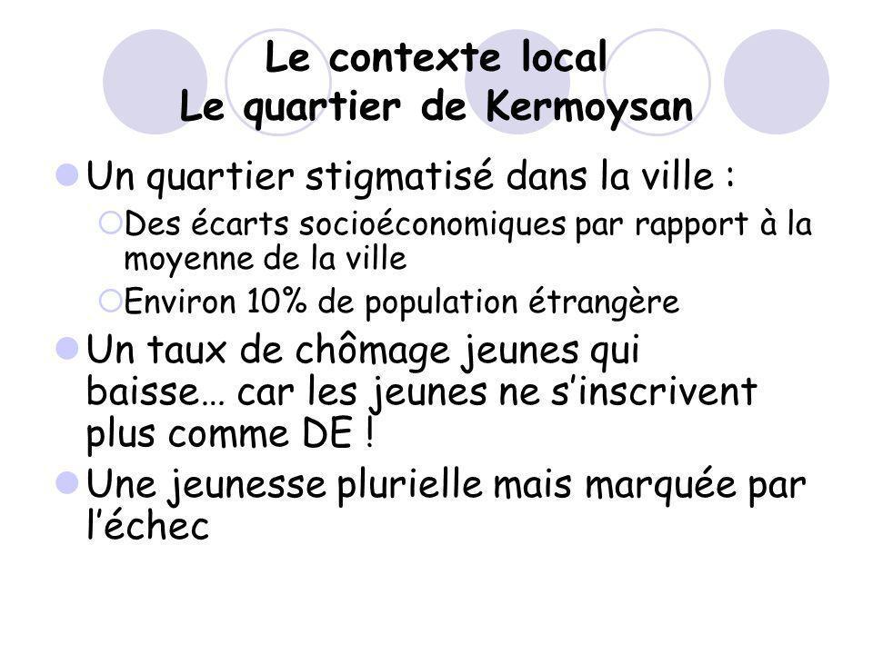 Le contexte local Le quartier de Kermoysan Un quartier stigmatisé dans la ville : Des écarts socioéconomiques par rapport à la moyenne de la ville Env