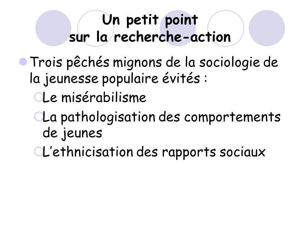 Un petit point sur la recherche-action Trois pêchés mignons de la sociologie de la jeunesse populaire évités : Le misérabilisme La pathologisation des