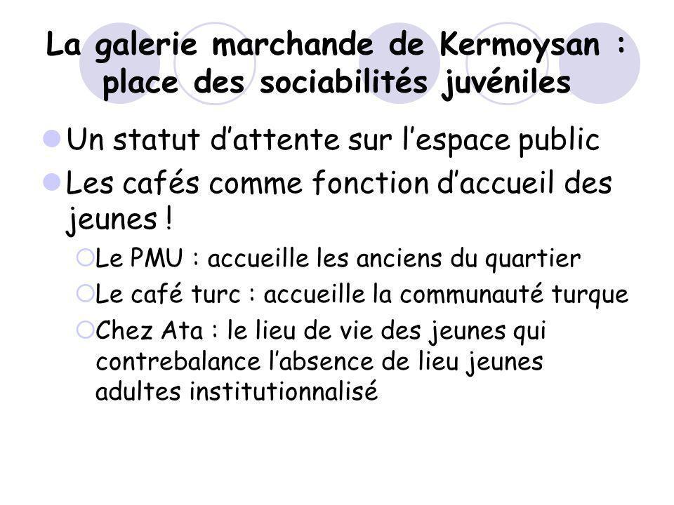 La galerie marchande de Kermoysan : place des sociabilités juvéniles Un statut dattente sur lespace public Les cafés comme fonction daccueil des jeune