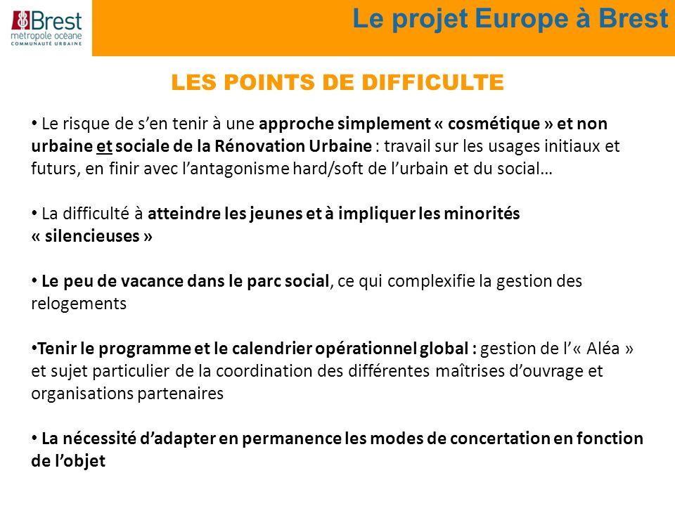 Le projet Europe à Brest Le risque de sen tenir à une approche simplement « cosmétique » et non urbaine et sociale de la Rénovation Urbaine : travail