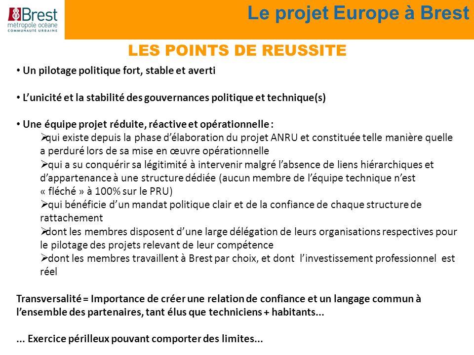 Le projet Europe à Brest LES POINTS DE REUSSITE Un pilotage politique fort, stable et averti Lunicité et la stabilité des gouvernances politique et te