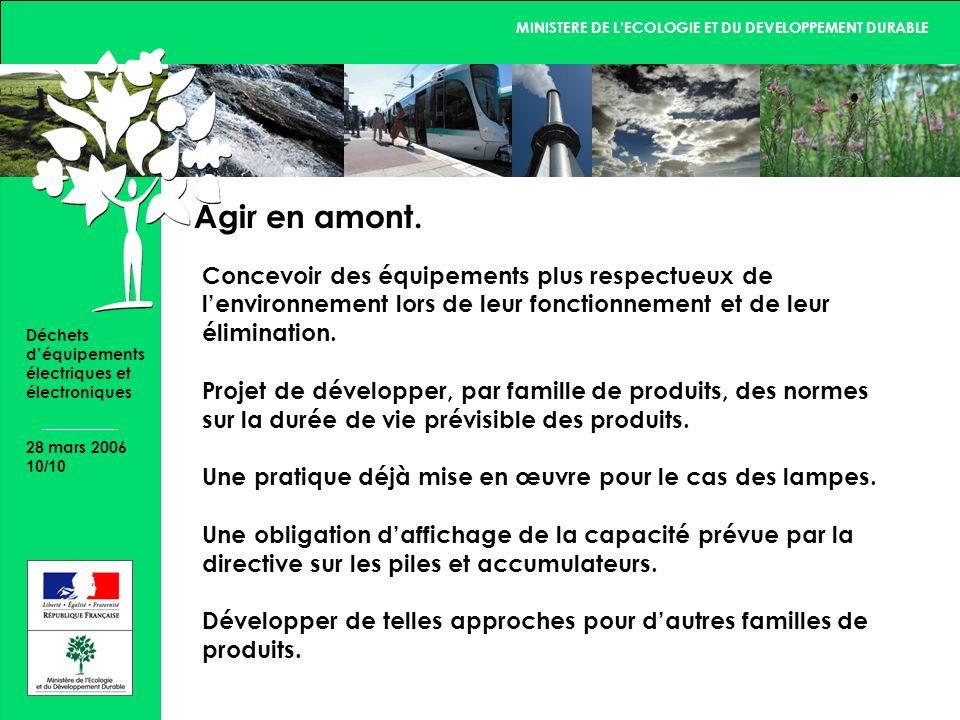 MINISTERE DE LECOLOGIE ET DU DEVELOPPEMENT DURABLE 28 mars 2006 10/10 Déchets déquipements électriques et électroniques Agir en amont.