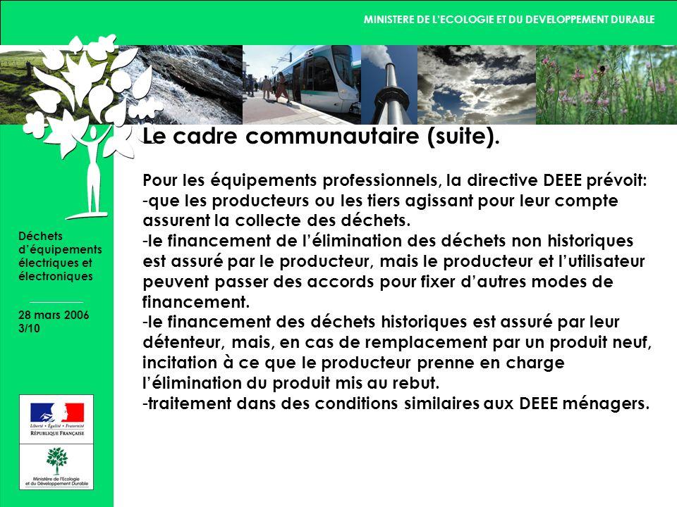 MINISTERE DE LECOLOGIE ET DU DEVELOPPEMENT DURABLE 28 mars 2006 3/10 Déchets déquipements électriques et électroniques Le cadre communautaire (suite).