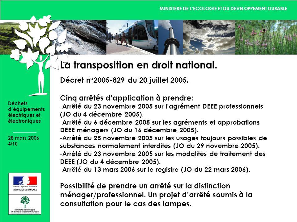 MINISTERE DE LECOLOGIE ET DU DEVELOPPEMENT DURABLE 28 mars 2006 4/10 Déchets déquipements électriques et électroniques La transposition en droit national.