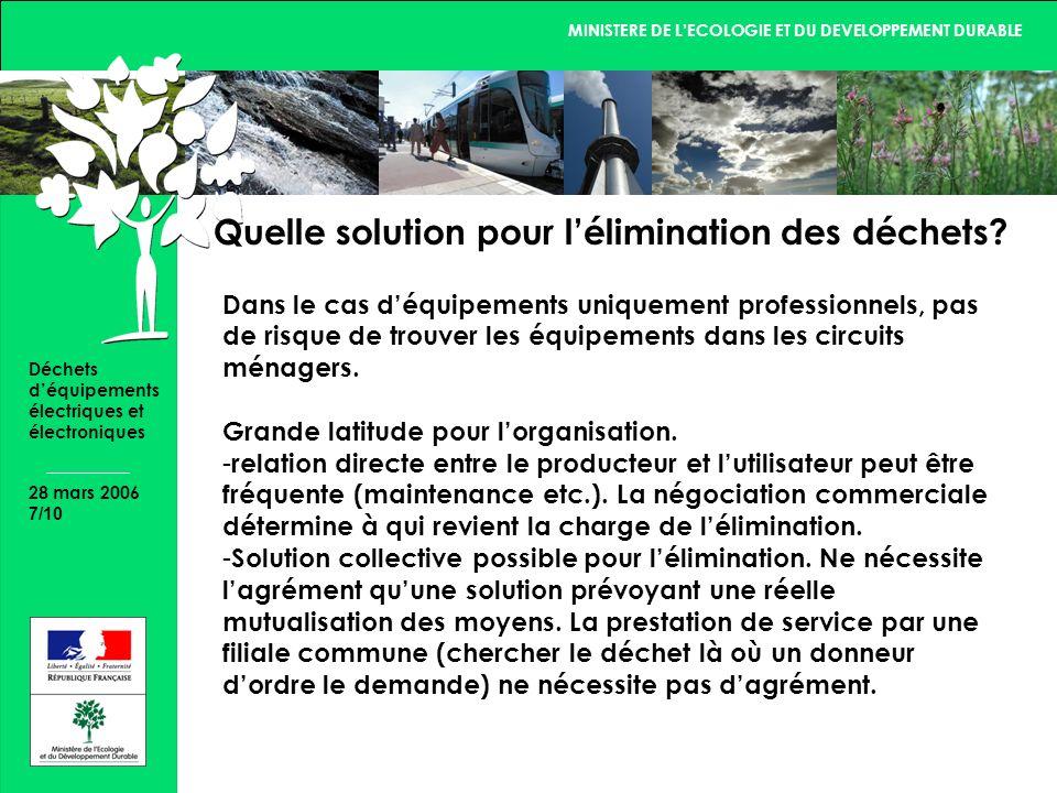 MINISTERE DE LECOLOGIE ET DU DEVELOPPEMENT DURABLE 28 mars 2006 7/10 Déchets déquipements électriques et électroniques Quelle solution pour lélimination des déchets.