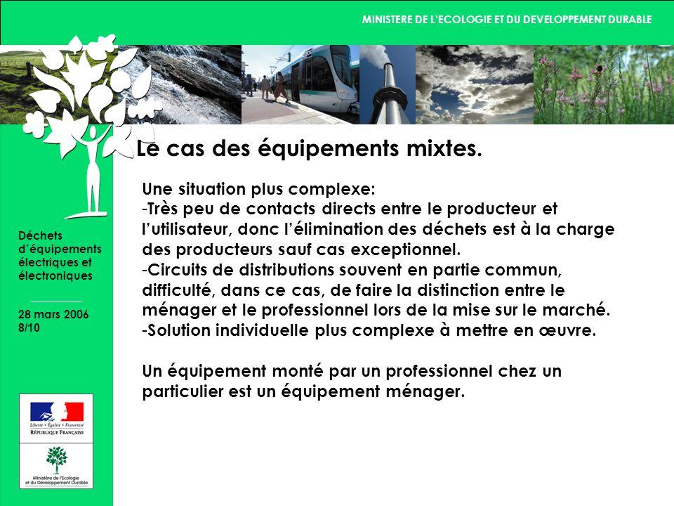 MINISTERE DE LECOLOGIE ET DU DEVELOPPEMENT DURABLE 28 mars 2006 8/10 Déchets déquipements électriques et électroniques Le cas des équipements mixtes.