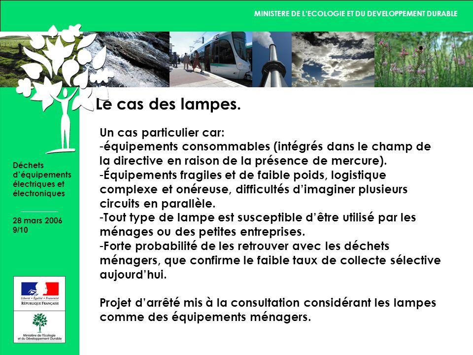 MINISTERE DE LECOLOGIE ET DU DEVELOPPEMENT DURABLE 28 mars 2006 9/10 Déchets déquipements électriques et électroniques Le cas des lampes.