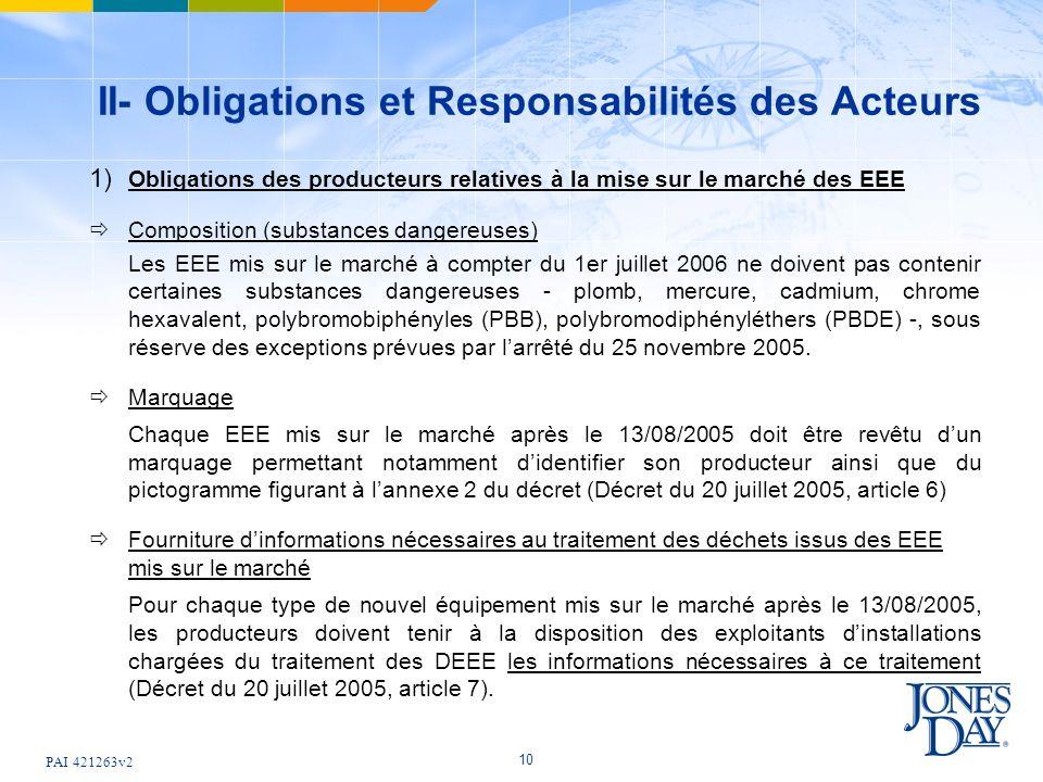 PAI 421263v2 10 II- Obligations et Responsabilités des Acteurs 1) Obligations des producteurs relatives à la mise sur le marché des EEE Composition (s