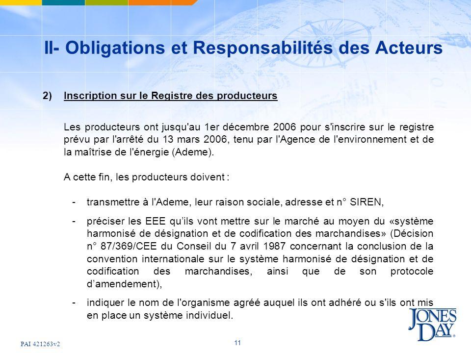 PAI 421263v2 11 II- Obligations et Responsabilités des Acteurs 2)Inscription sur le Registre des producteurs Les producteurs ont jusqu au 1er décembre 2006 pour s inscrire sur le registre prévu par l arrêté du 13 mars 2006, tenu par l Agence de l environnement et de la maîtrise de l énergie (Ademe).