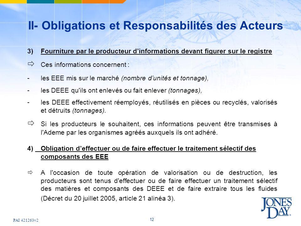 PAI 421263v2 12 II- Obligations et Responsabilités des Acteurs 3)Fourniture par le producteur dinformations devant figurer sur le registre Ces informa