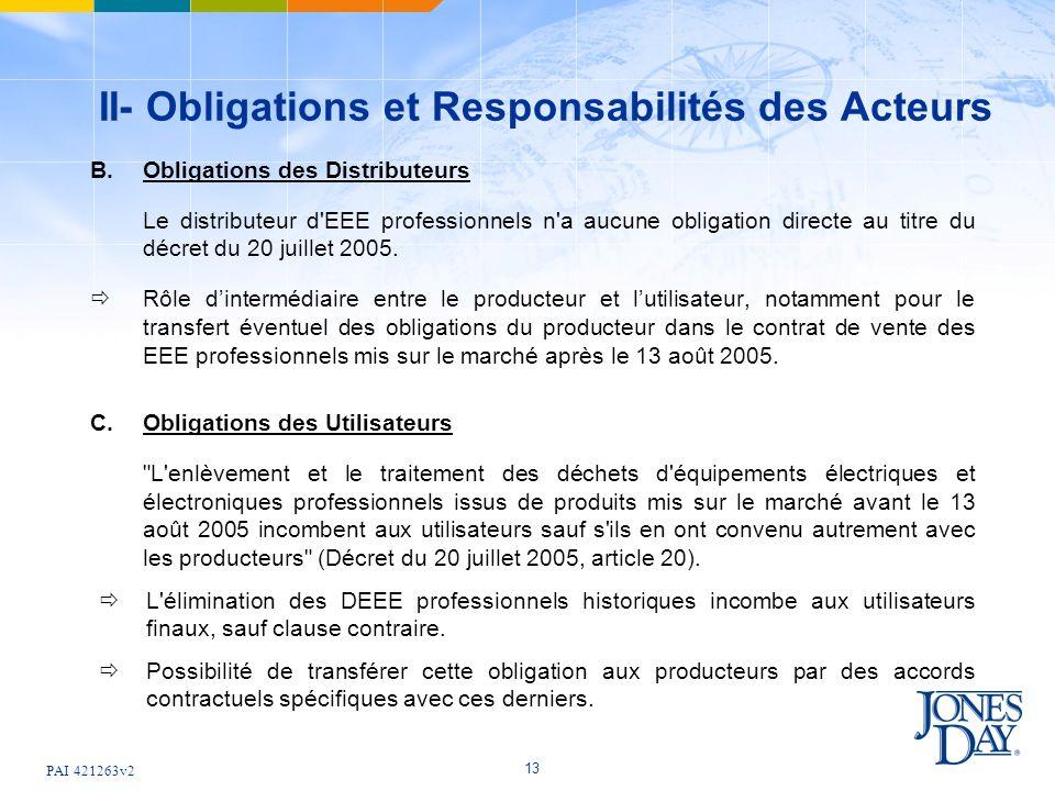 PAI 421263v2 13 II- Obligations et Responsabilités des Acteurs B. Obligations des Distributeurs Le distributeur d'EEE professionnels n'a aucune obliga