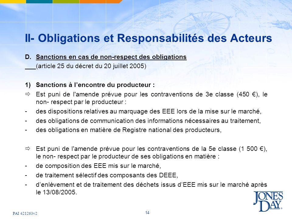 PAI 421263v2 14 II- Obligations et Responsabilités des Acteurs D.Sanctions en cas de non-respect des obligations (article 25 du décret du 20 juillet 2005) 1) Sanctions à lencontre du producteur : Est puni de l amende prévue pour les contraventions de 3e classe (450 ), le non- respect par le producteur : -des dispositions relatives au marquage des EEE lors de la mise sur le marché, -des obligations de communication des informations nécessaires au traitement, -des obligations en matière de Registre national des producteurs, Est puni de l amende prévue pour les contraventions de la 5e classe (1 500 ), le non- respect par le producteur de ses obligations en matière : - de composition des EEE mis sur le marché, - de traitement sélectif des composants des DEEE, - denlèvement et de traitement des déchets issus dEEE mis sur le marché après le 13/08/2005.