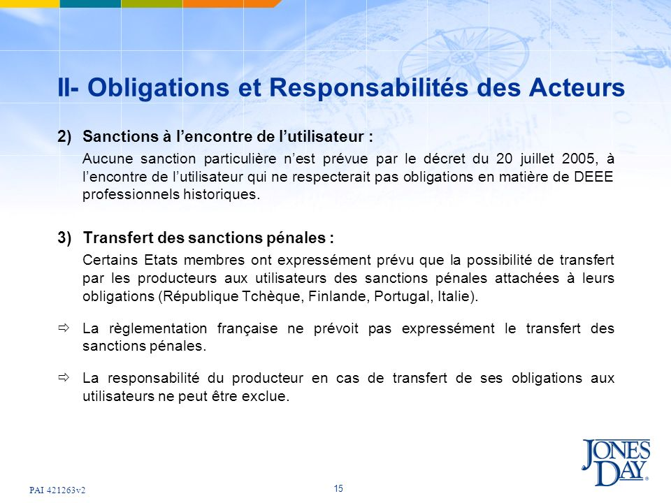 PAI 421263v2 15 II- Obligations et Responsabilités des Acteurs 2) Sanctions à lencontre de lutilisateur : Aucune sanction particulière nest prévue par
