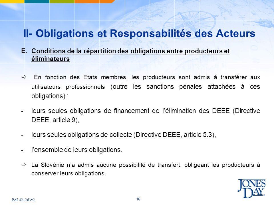 PAI 421263v2 16 II- Obligations et Responsabilités des Acteurs E.Conditions de la répartition des obligations entre producteurs et éliminateurs En fonction des Etats membres, les producteurs sont admis à transférer aux utilisateurs professionnels (outre les sanctions pénales attachées à ces obligations) : -leurs seules obligations de financement de lélimination des DEEE (Directive DEEE, article 9), -leurs seules obligations de collecte (Directive DEEE, article 5.3), -lensemble de leurs obligations.