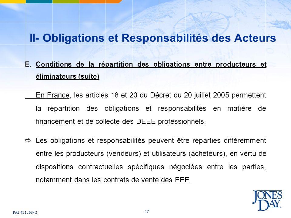 PAI 421263v2 17 II- Obligations et Responsabilités des Acteurs E.Conditions de la répartition des obligations entre producteurs et éliminateurs (suite) En France, les articles 18 et 20 du Décret du 20 juillet 2005 permettent la répartition des obligations et responsabilités en matière de financement et de collecte des DEEE professionnels.