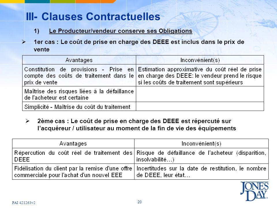 PAI 421263v2 20 III- Clauses Contractuelles 1) Le Producteur/vendeur conserve ses Obligations 1er cas : Le coût de prise en charge des DEEE est inclus