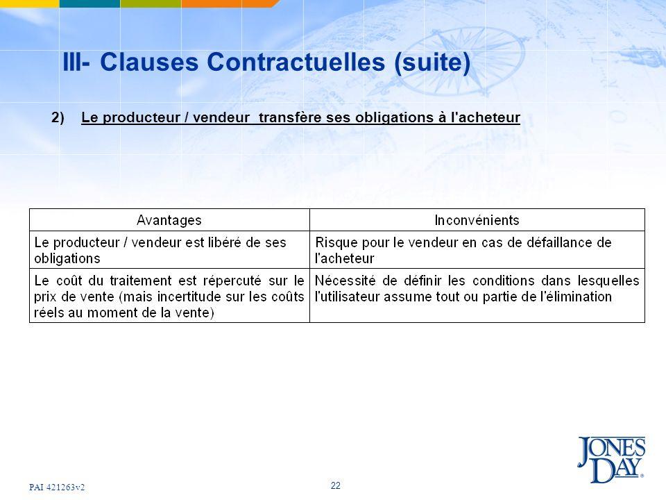 PAI 421263v2 22 III- Clauses Contractuelles (suite) 2) Le producteur / vendeur transfère ses obligations à l'acheteur