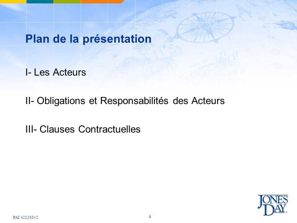 PAI 421263v2 4 Plan de la présentation I- Les Acteurs II- Obligations et Responsabilités des Acteurs III- Clauses Contractuelles