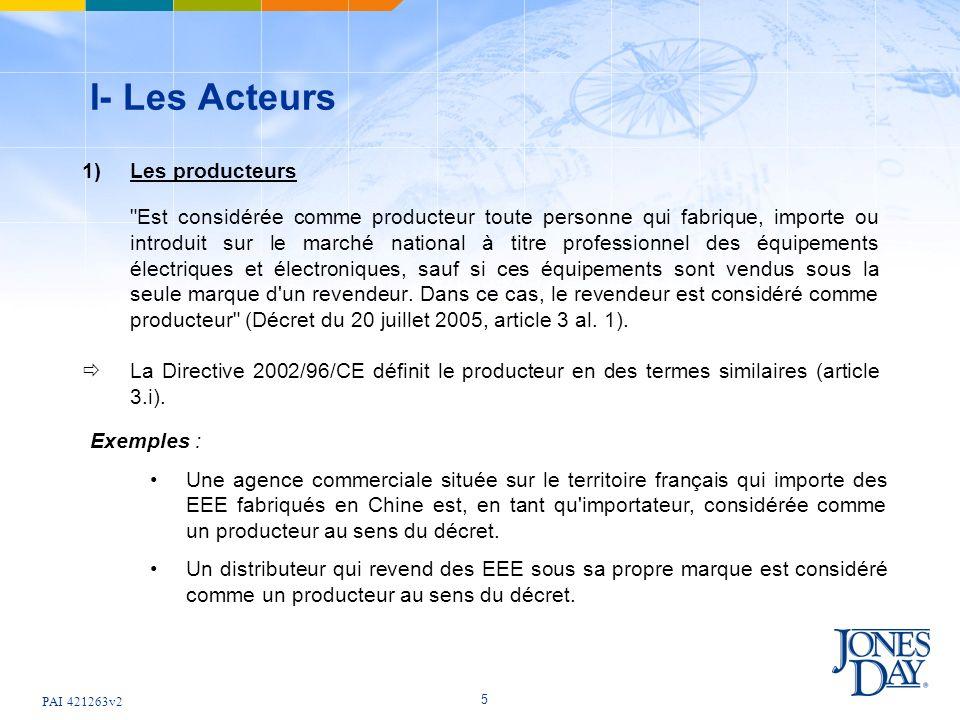 PAI 421263v2 5 I- Les Acteurs 1) Les producteurs