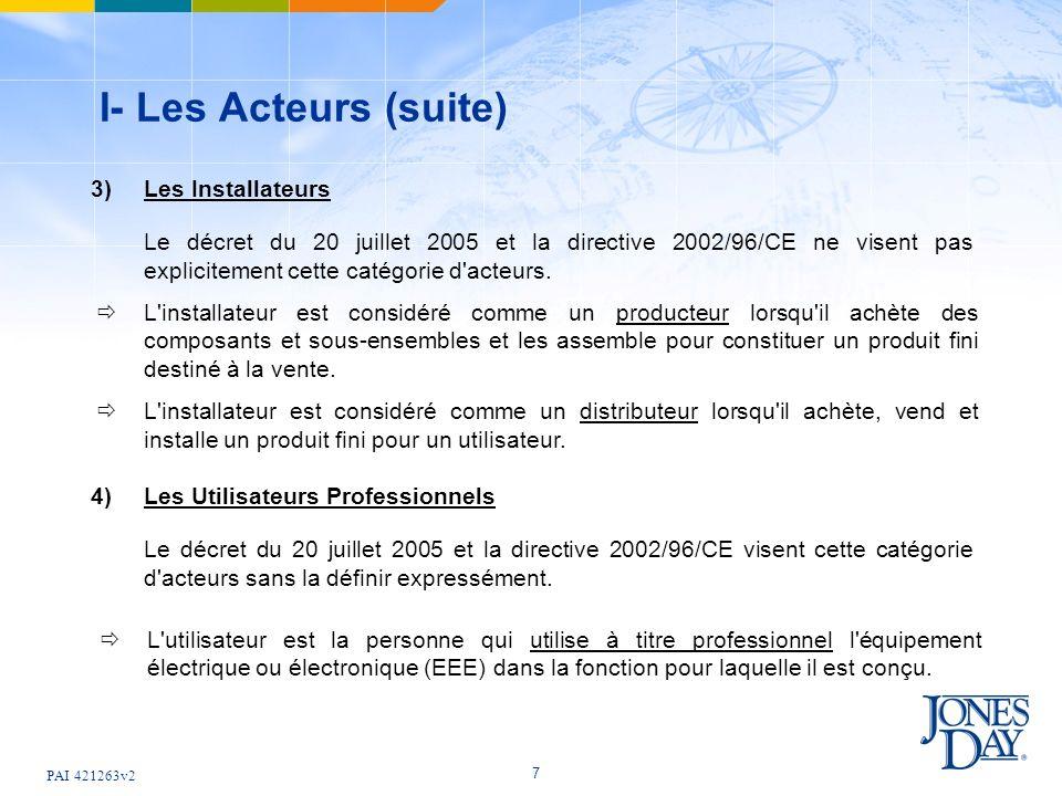 PAI 421263v2 7 I- Les Acteurs (suite) 3) Les Installateurs Le décret du 20 juillet 2005 et la directive 2002/96/CE ne visent pas explicitement cette c