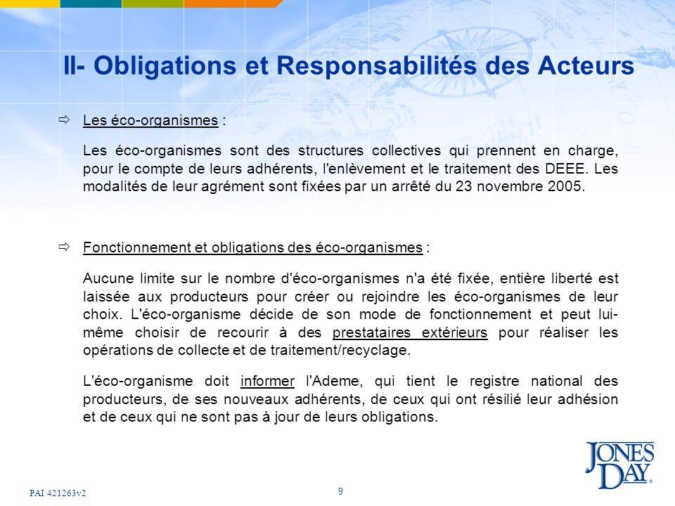 PAI 421263v2 9 II- Obligations et Responsabilités des Acteurs Les éco-organismes : Les éco-organismes sont des structures collectives qui prennent en charge, pour le compte de leurs adhérents, l enlèvement et le traitement des DEEE.