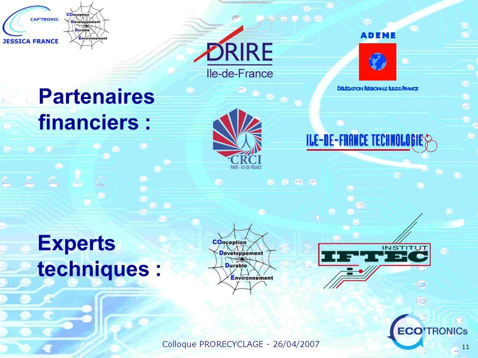 Colloque PRORECYCLAGE - 26/04/2007 11 Partenaires financiers : Experts techniques :
